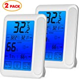 senbowe 2 Pack trade; Digital Hygrometer Indoor Room Thermometer Humidity Gauge with Jumbo Touchscreen, Backlight,Max/Min Records,Temperature Humidity Monitor Fahrenheit Or Celsius (White)