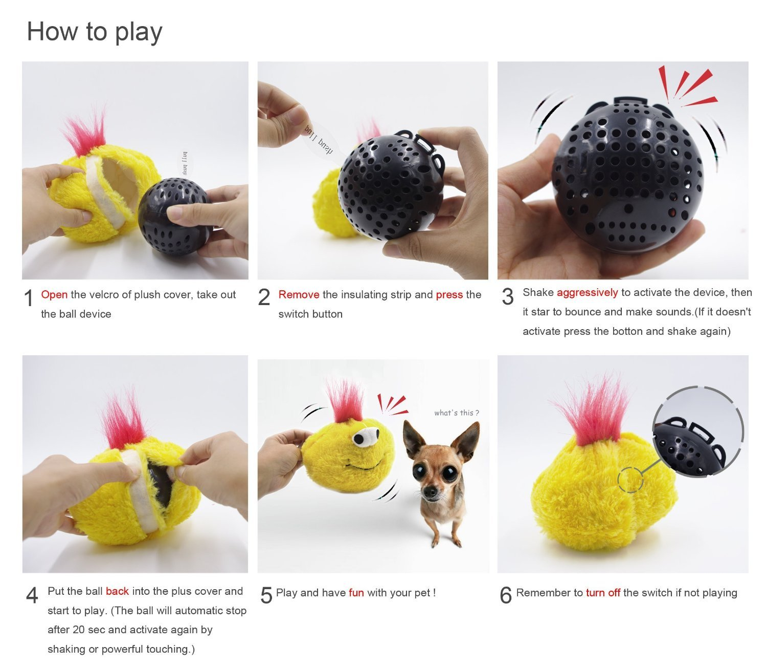 Jhua Squeaky Plush Chicken Dog Toy Bouncing Ball Talking Switch Bounce Produced On Press Electronic Jumping Interactive Doggie Cat Toys For Boredom 5 Inches Yellow Pet
