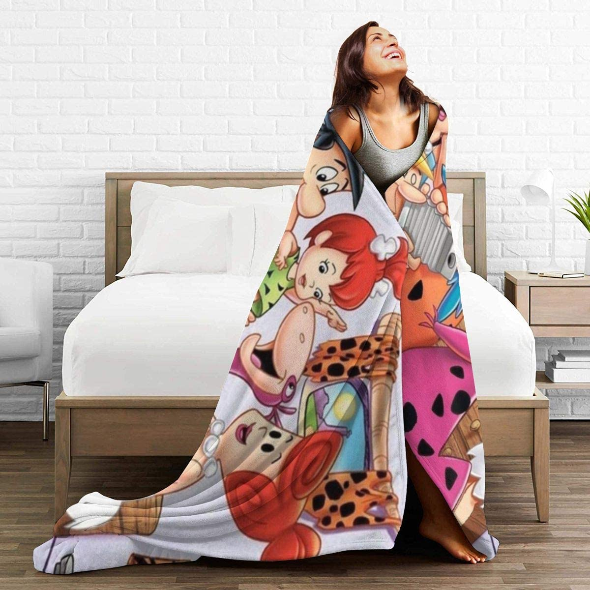 The-Flintstones Blanket Soft and Warm Flannel Fluffy Lightweight Breathable Throw for Cinema Yoga Camping Picnic Travel Beach Home Size for Kids Teens Adults 60X50
