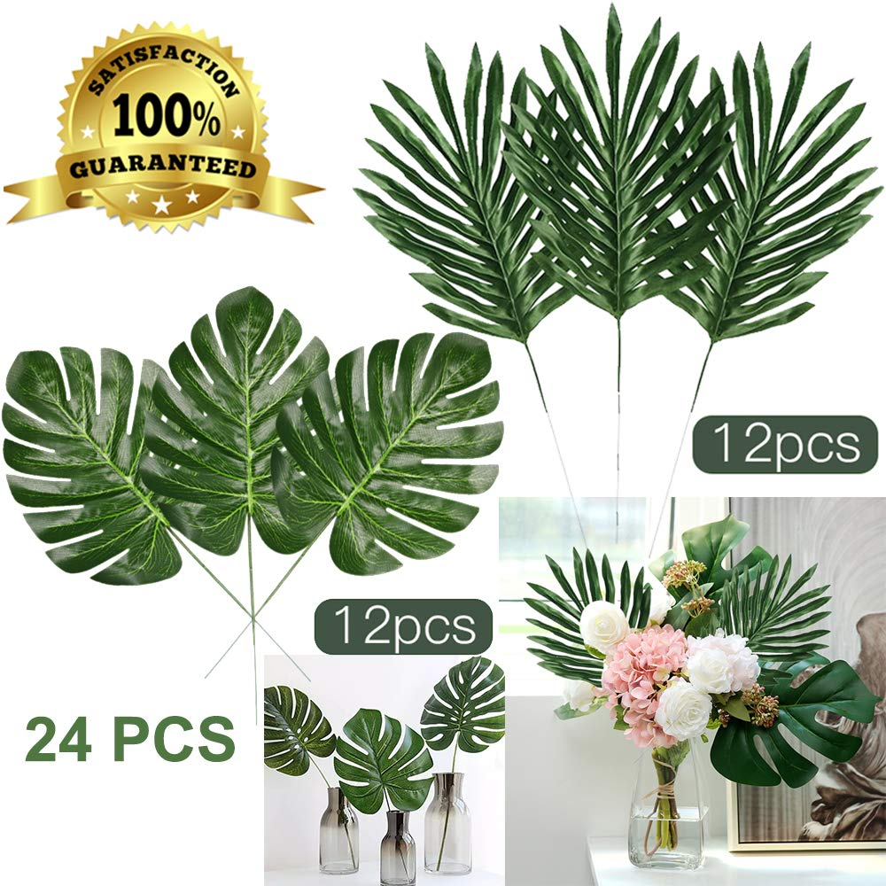 Artiflr Faux Palm Leaves with Stems Artificial Tropical Plant Imitation Safari Leaves Hawaiian Luau Party Suppliers Decorations (24PCS 2kinds(12Stemmed+12 Turtle Leaf Bundle)