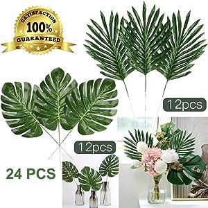 Artiflr Faux Palm Leaves with Stems Artificial Tropical Plant Imitation Safari Leaves Hawaiian Luau Party Suppliers Decorations (24PCS 2kinds(12Stemmed+12 Turtle Leaf Bundle)