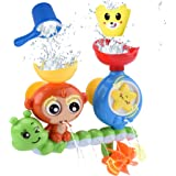 GOODLOGO Bath Toys for Toddlers Kids Babies 1 2 3 Year Old Boys Girls Bathtub Toy with 2 Toy Cups Strong Suction Cups…
