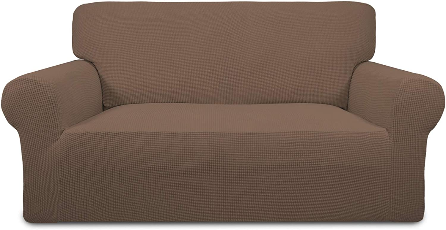 Easy-Going Stretch Sofa Slipcover 1-Piece Sofa Cover Furniture Protector Couch Soft with Elastic Bottom Anti-Slip Foam Kids, Spandex Jacquard Fabric Small Checks(Loveseat,Brown)