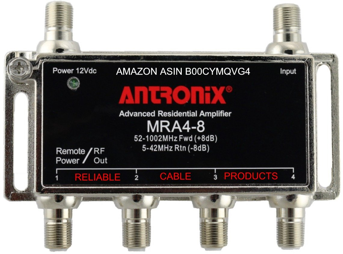 Amplifier, Cable TV RF Broadband 8dB Gain Four Output 5-1002Mhz w/ Power Adapter by ANTRONIX® MRA Series