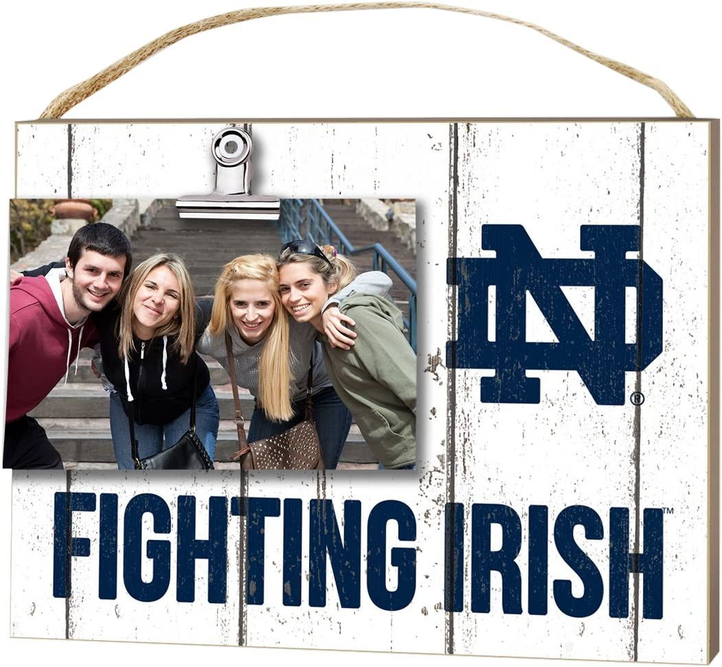 "KH Sports Fan 10""x8"" Notre Dame Fighting Irish Clip It Weathered Logo Collage Photo Frame, White"