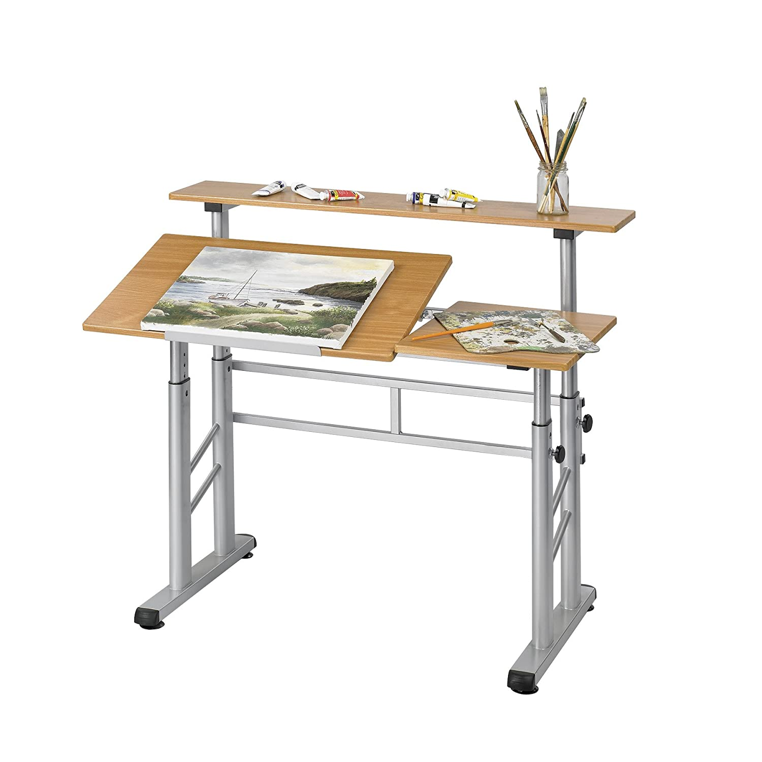 Drafting table dimensions - Amazon Com Safco Products 3965mo Split Level Drafting Table Height Adjustable Medium Oak Kitchen Dining