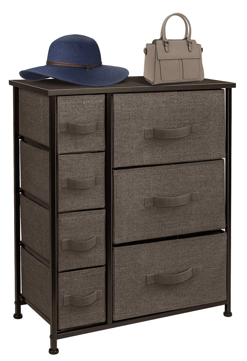 Sorbus Dresser with Drawers - Furniture Storage Tower Unit for Bedroom, Hallway, Closet, Office Organization - Steel Frame, Wood Top, Easy Pull Fabric Bins (7-Drawer, Brown)