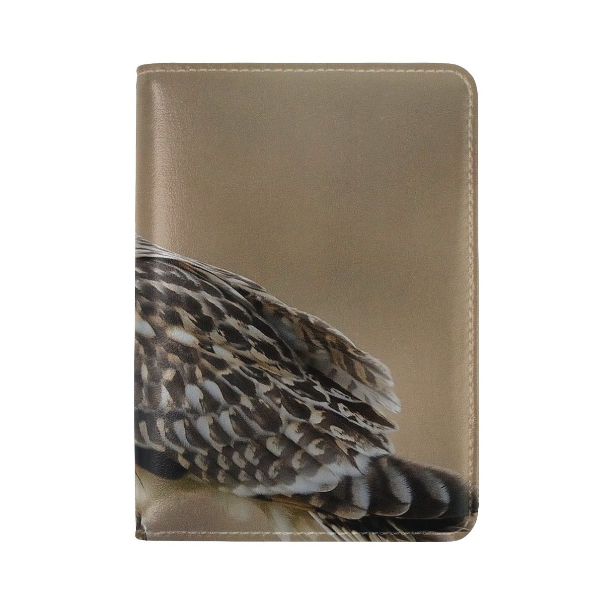 Animal Owl Short-eared Flying Tangled Adorable Fluffy Natural Tree Leather Passport Holder Cover Case Travel One Pocket