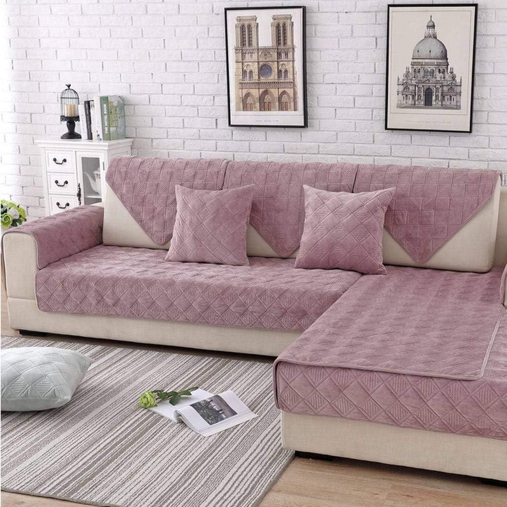 MO&SU Plush Sofa Cover, Sofa Slipcover Non-Slip Rubber Furniture Protector Couch Covers for L-Shaped Sofa 1 2 3 Cushion Couch-Powder-1 pc 90x70cm(35x28in)