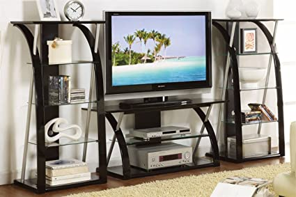 3 Pcs Modern Tv Stand Unit Living Room Furniture Entertainment Center/ Black