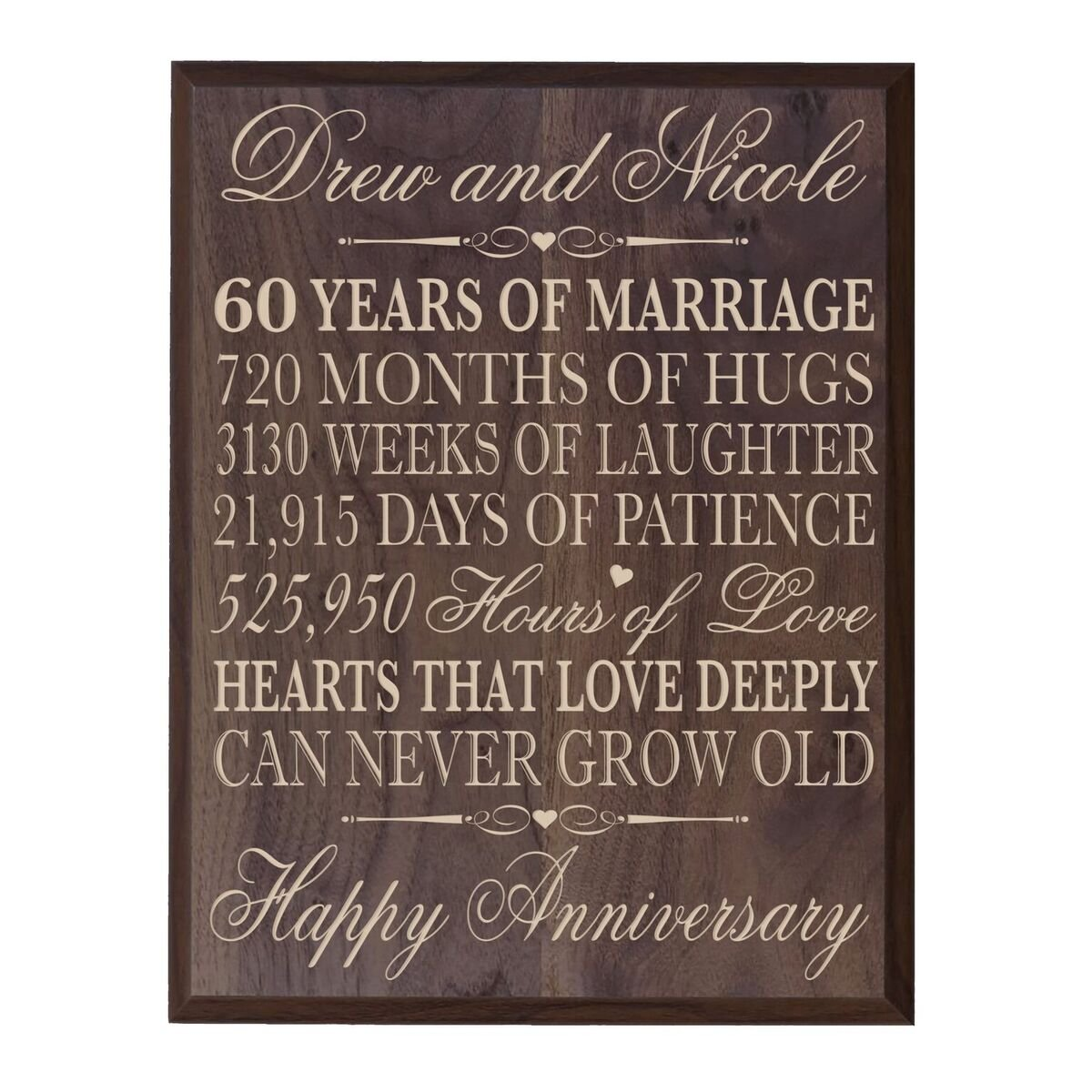 LifeSong Milestones Personalized 60th Wedding Anniversary Wall Plaque Gifts for Couple, Custom Made 60th 12'' W X 15'' H Wall Plaque (12'' x 15'' x 1/2'', Grand Walnut)