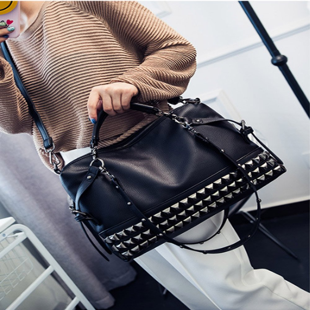 FiveloveTwo Women Middle Size Modern Punk Pu Leather Cross Body Rivet Top-handle Shoulder Bags Hobo Tote Satchel Handbags for Lady Black by FiveloveTwo (Image #5)