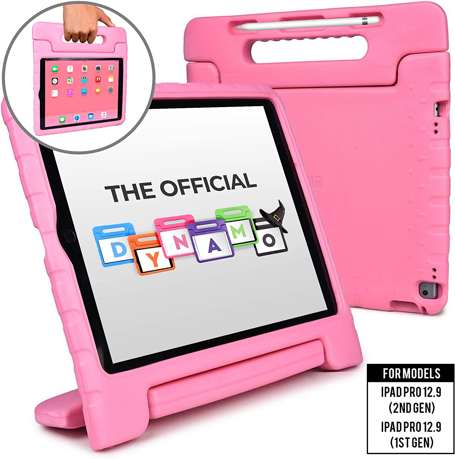 Cooper Dynamo [Rugged Kids Case] Protective Case for iPad Pro 12.9 1st 2nd Generation 2015 2017 | Child Proof Cover with Stand, Large Handle (Pink)