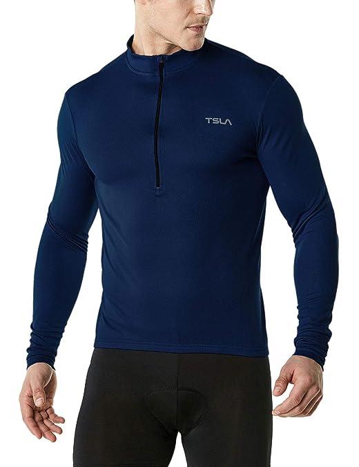 TSLA Men's Cycling Triathlon Jersey Bike Breathable Reflective Quick Dry Long Sleeve Biking Shirt