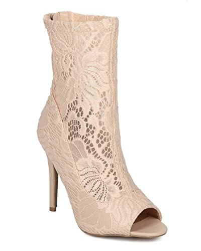 Women Fabric Lace Stiletto Ankle Boot - Floral Lace Peep Toe Bootie - Dressy Trendy Versatile Stiletto Bootie - HD18 by Qupid Collection