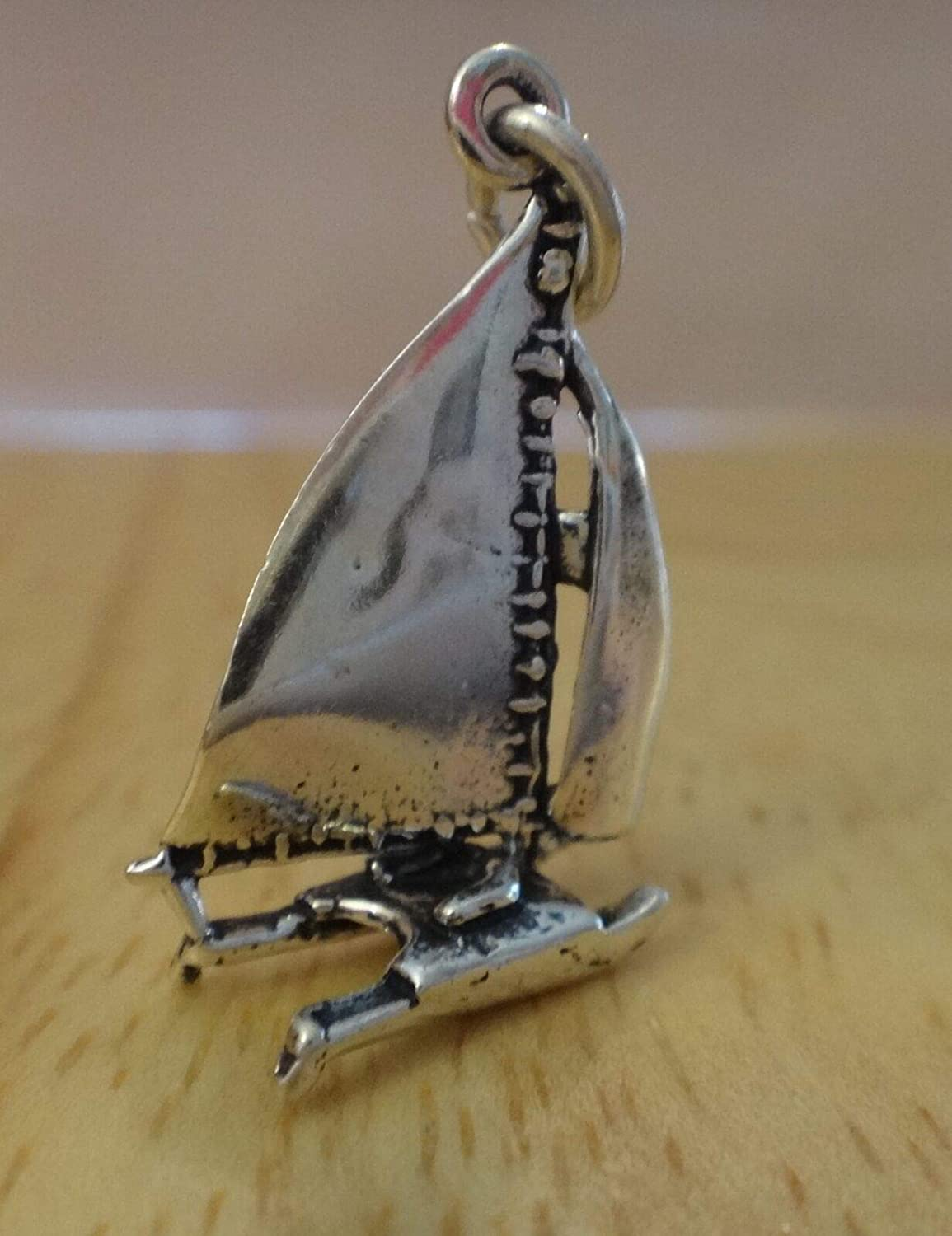 Fine Charms 1 Sterling Silver 3D 21x15x5mm Hobi Cat Sailboat Sail Boat