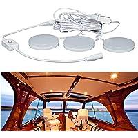 RV Ceiling Light 12V, Boat Ceiling Light 3 Pack, 5W LED Recessed Cabinet Lights, Dimmable Warm White LED Interior Light…