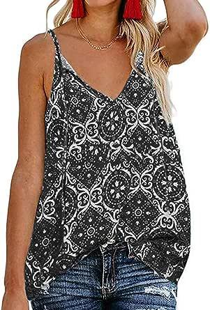 Roseseedlove Women's Boho Floral V Neck Spaghetti Straps Tank Top Summer Sleeveless Shirts Blouse