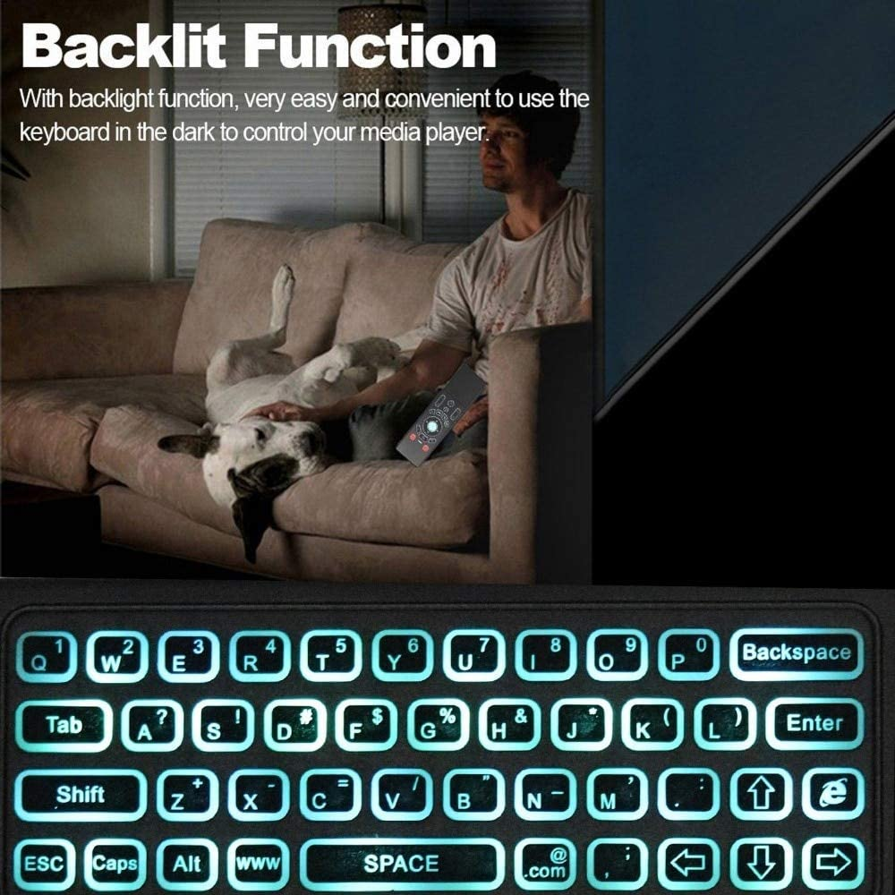 Color: English with Voice Calvas Backlit keyboard Russian English 2.4GHz Air mouse Wireless Keyboard touchpad Learning Remote Control for Android TV Box mini PC