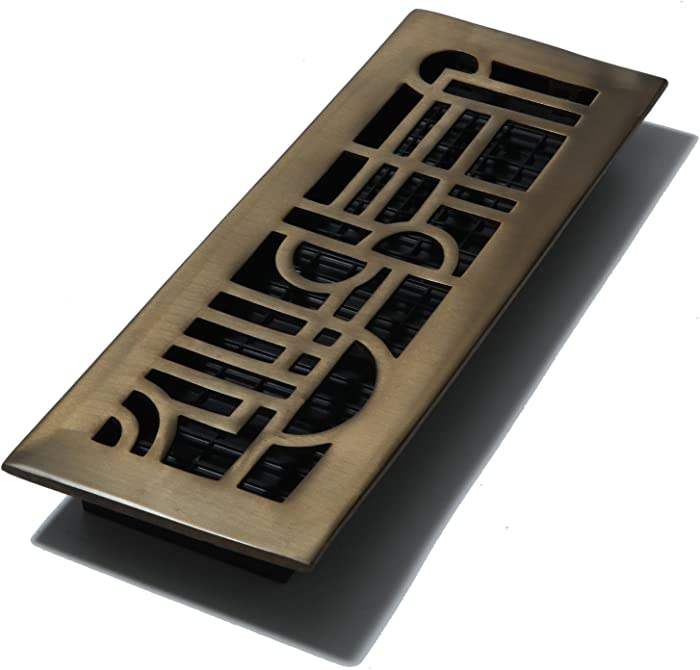 Decor Grates AD414-RB 4-Inch by 14-Inch Art Deco Floor Register, Solid Brass with Rubbed Bronze
