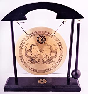 FindSomethingDifferent Decorative Table Gong 8cm In Black Wooden Stand