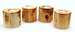 Mac's Rustic Pine Wood Tea Light Candle Holder - Set of 4, Includes 4 Tea Light Candles, 3.75 x 3.75 x 3.75 Inches