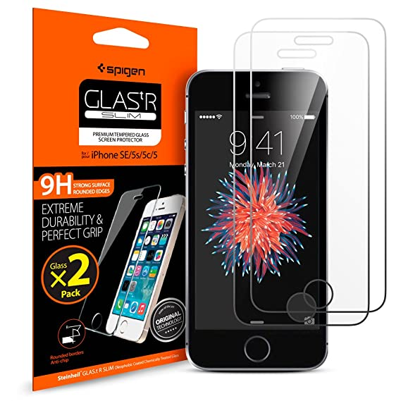 hot sale online 83648 4d923 Spigen Tempered Glass iPhone SE Screen Protector [ Case Friendly ] [ 9H  Hardness ] for iPhone SE / 5S / 5C / 5