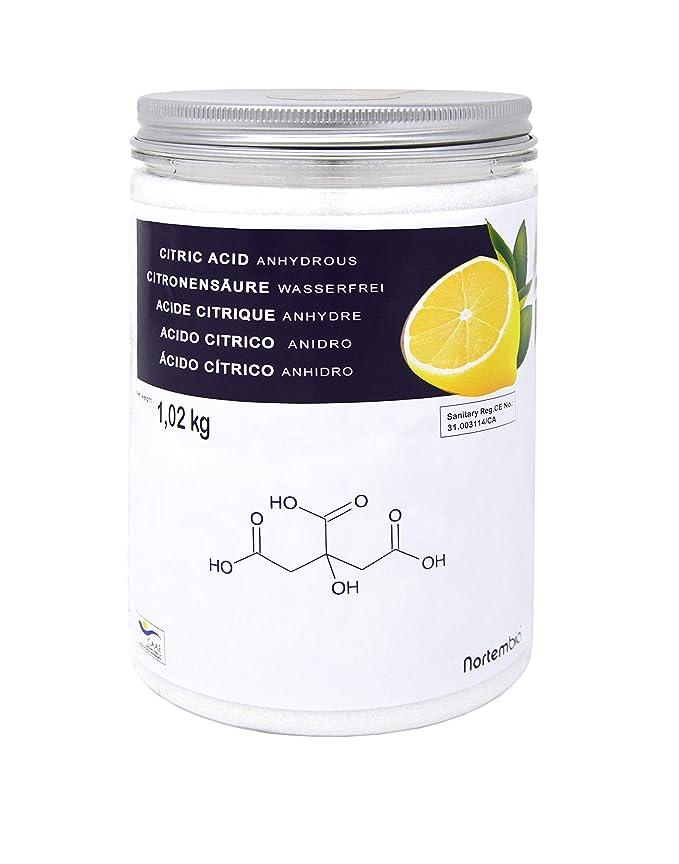 NortemBio Zitronensäure 1,02 Kg. 100% Reines Pulver in Lebensmittelqualität. Entwickelt in Deutschland.