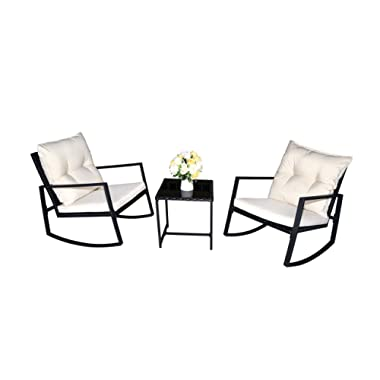 Kozyard Moana Outdoor 3-Piece Rocking Wicker Bistro Set, Two Chairs and One Glass Coffee Table, Black Wicker Furniture(White Cushion)