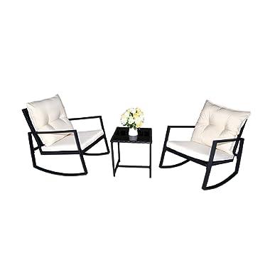 Kozyard Moana Outdoor 3-Piece Rocking Wicker Bistro Set, Two Chairs One Glass Coffee Table, Black Wicker Furniture(White Cushion)