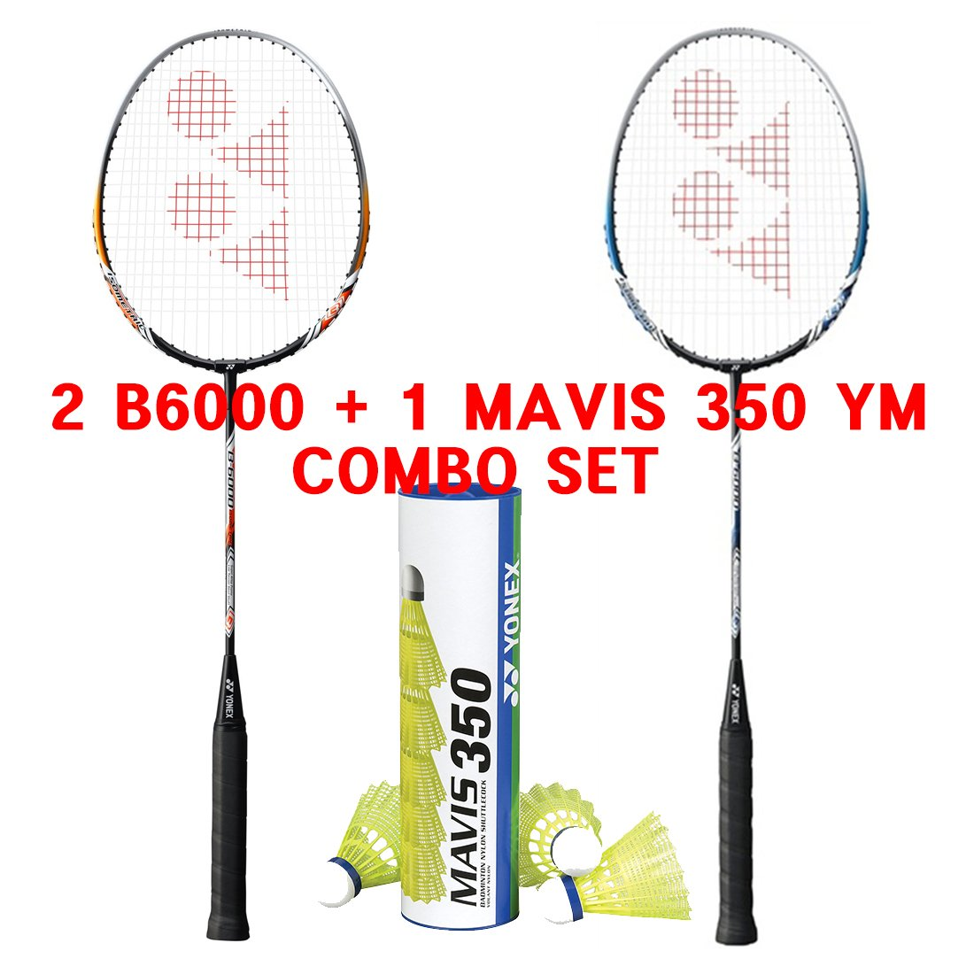 Yonex Basic 6000 Mavis 350 Yellow Medium Shuttlecock Badminton Combo Set