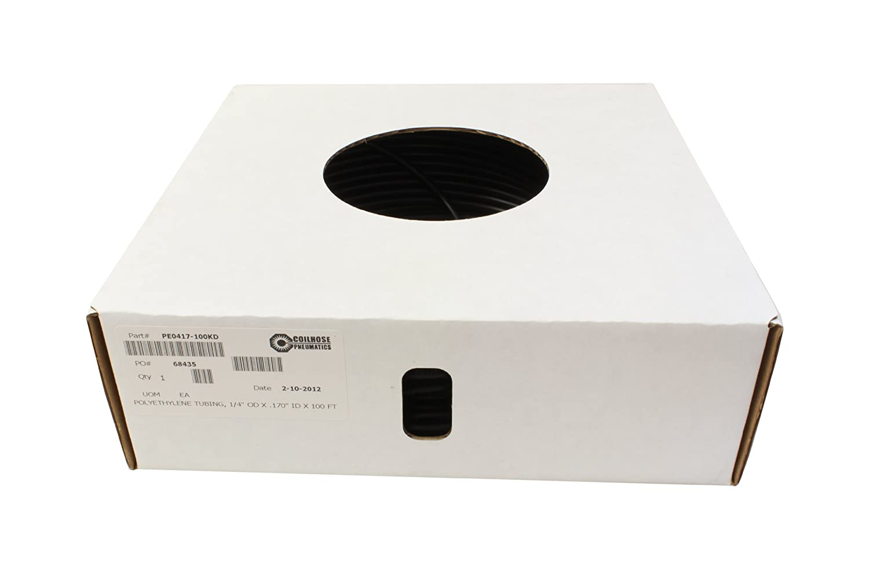 1//4-Inch OD X 0.16-Inch ID 100-Feet Length in Dispenser Box Coilhose Pneumatics PT0404-100KD Polyurethane Tubing Black