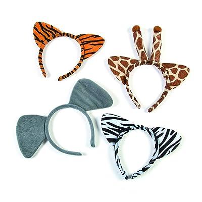 Plush Zoo Animal Headbands w Ears (1 dozen) Jungle Party Favors and Costume Accessories, Zebra, Giraffe, Elephant &Tiger: Toys & Games