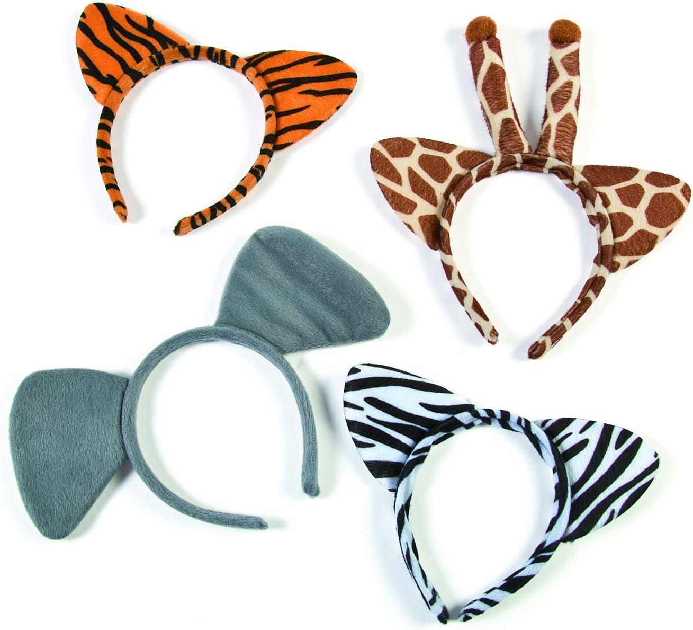 Plush Zoo Animal Headbands w Ears (1 dozen) Jungle Party Favors and Costume Accessories, Zebra, Giraffe, Elephant &Tiger