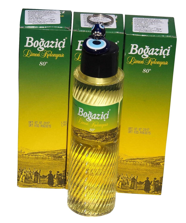 3x 400ml Bogazici Lemon Scented Water–Eau de Cologne Limon KOLONYA + Evil Eye Keyring Deva Holding A.S.