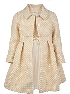 3bc9408ffae Bonnie Jean Ivory and Gold Metallic Brocade Bodice Christmas Dress and Coat  Set