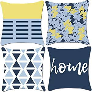 ZUEXT Nordic Blue and Lemon Yellow Geometric Throw Pillow Covers 20 x 20 Inch Double Side Design, Set of 4 Velvet Farmhouse Floral Square Pillowcase Cushion Covers for Sweet Home Sofa Chair Decor