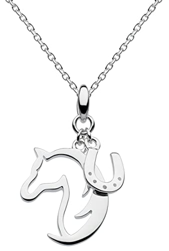 Dew Sterling Silver Hoofing Around Horse and Horseshoe Necklace 45.7 cm sTFONX