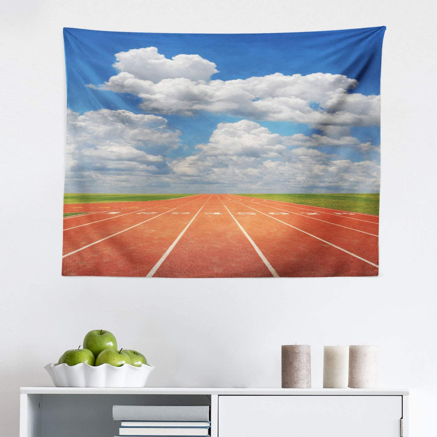 """Lunarable Olympics Tapestry, Sports Competition Running Track on a Sunny Day Lawn Grass Field Cloudy, Fabric Wall Hanging Decor for Bedroom Living Room Dorm, 28"""" X 23"""", Sky Blue"""