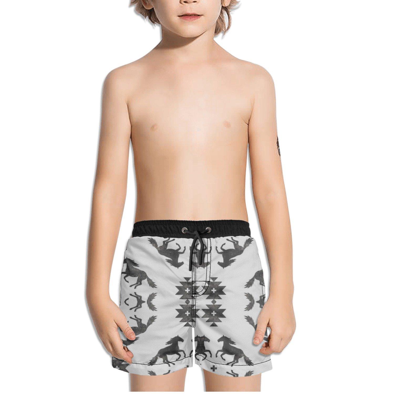 Ouxioaz Boys Swim Trunk Horse Black Beach Board Shorts