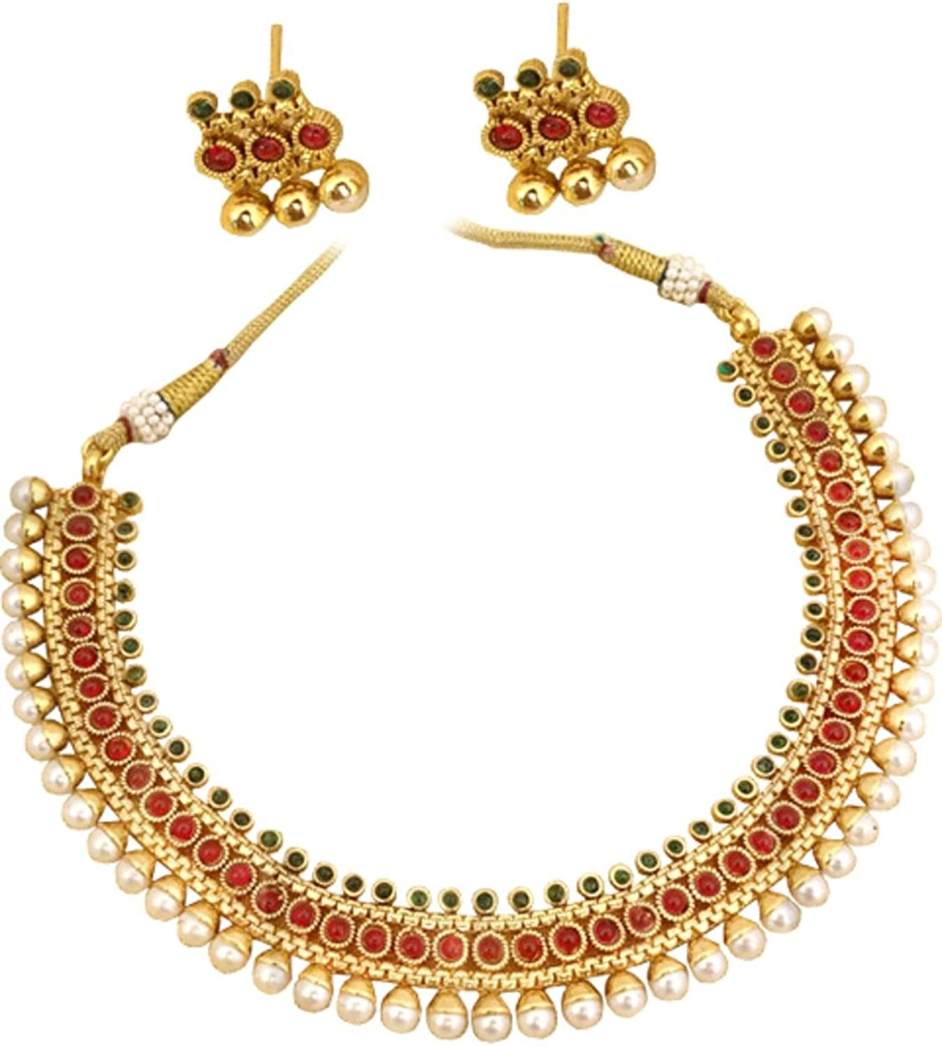 AZINGT201-GRG Authentic Indian Traditional Imitation Gold Tone Jewelry for Women
