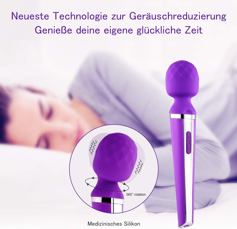 Al Ofa Kabelloser Massagestab Magic Handheld Massagegerät Mit 24 Vibrationsmodi For Muskel Schmerz Stärkste Therapeutische Vibrationskraft Violett Drogerie Körperpflege