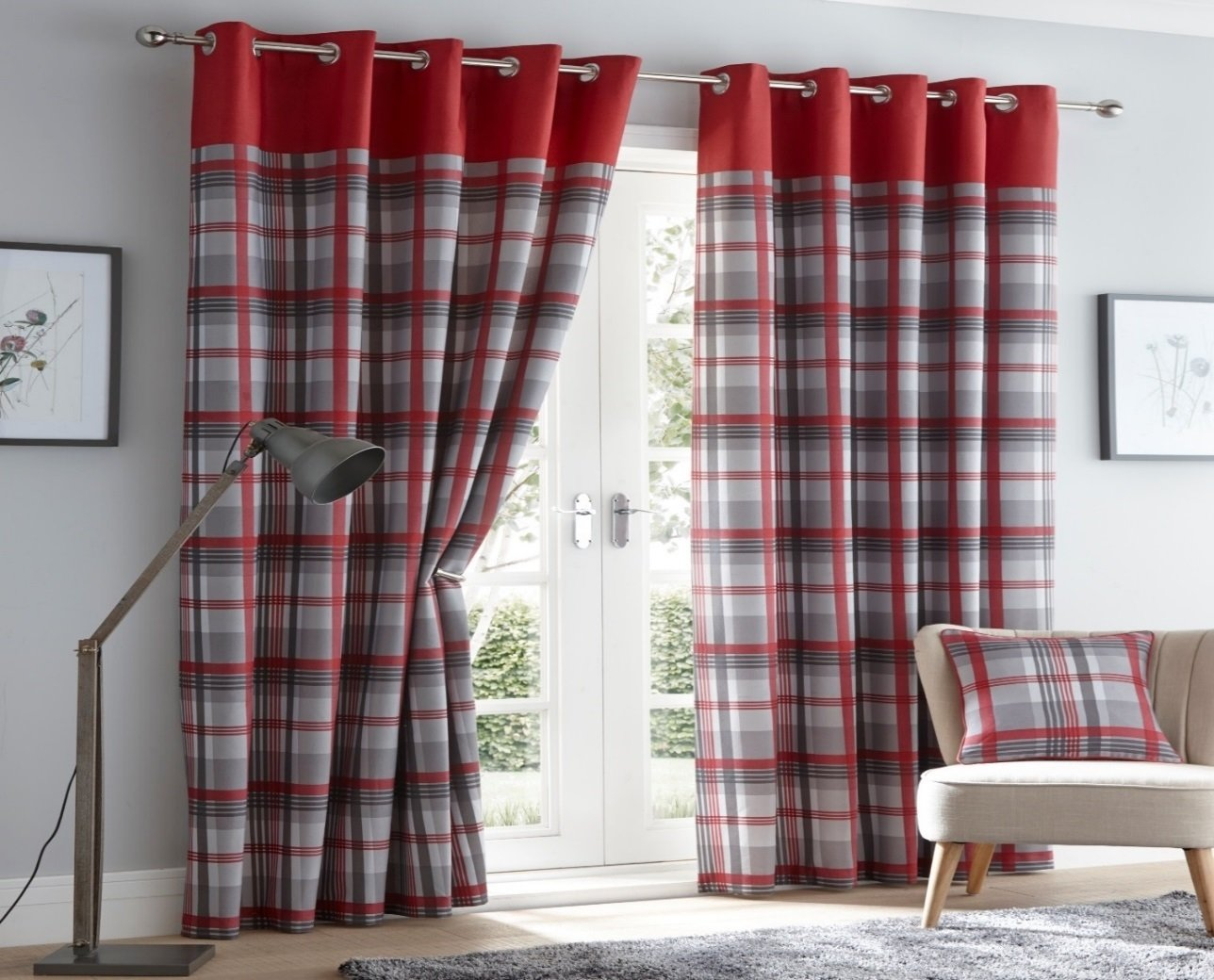 ORLEANS 66 X 90 RED GREY SLATE TARTAN CHECK EYELET READY MADE CURTAINS