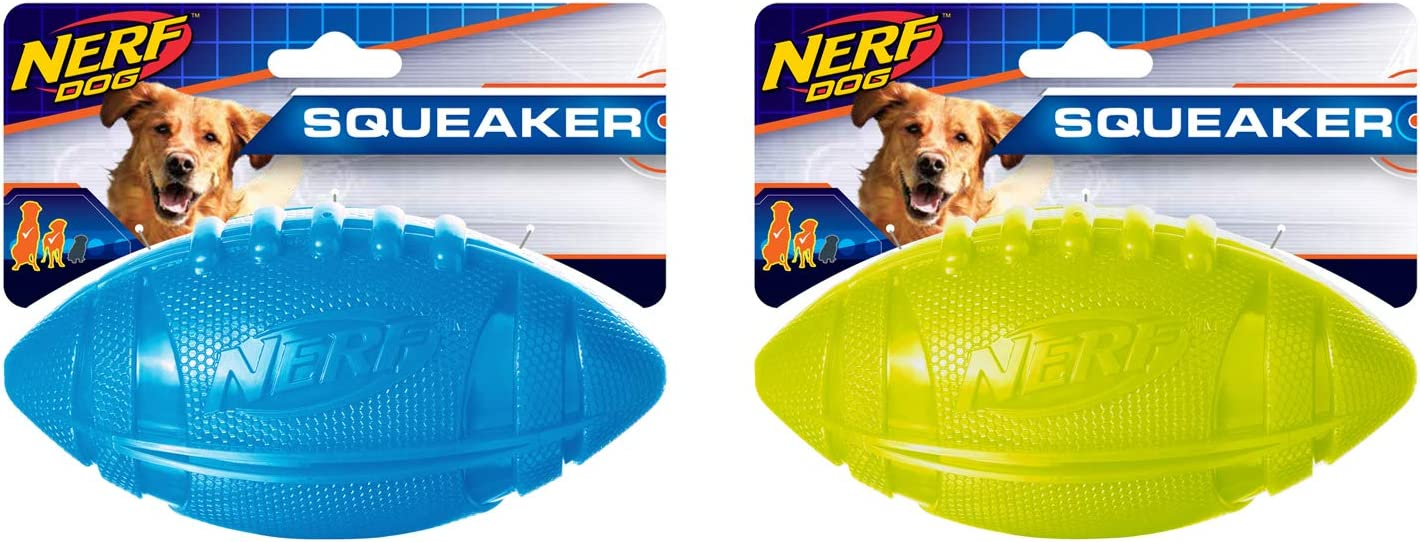 Nerf Dog 2-Pack 6in Squeaky Football Dog Toy, Blue and Green