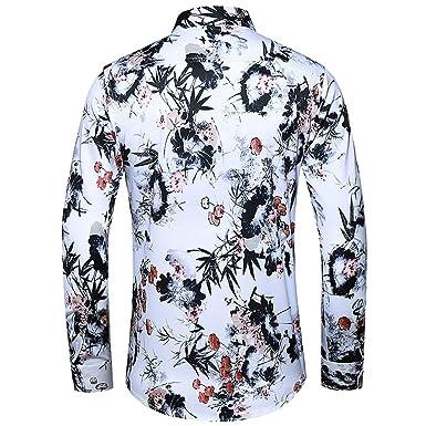 Camisa de manga larga para hombre, cuello alto, calavera ...