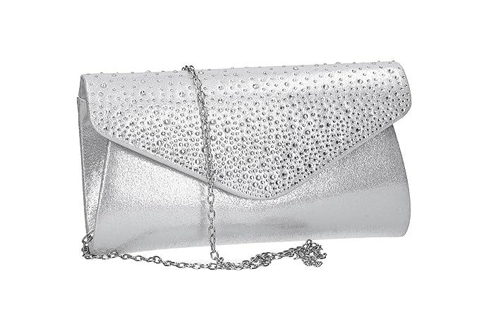 9533b528da MICHELLE MOON Borsetta donna pochette argento da cerimonia con strass  VN2347: Amazon.it: Abbigliamento