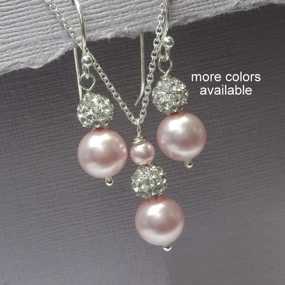 Light Pink Jewelry Set, Light Pink Bridesmaid Gift Set, Light Pink Wedding Jewelry. Blush Pink Pearl Jewelry Set