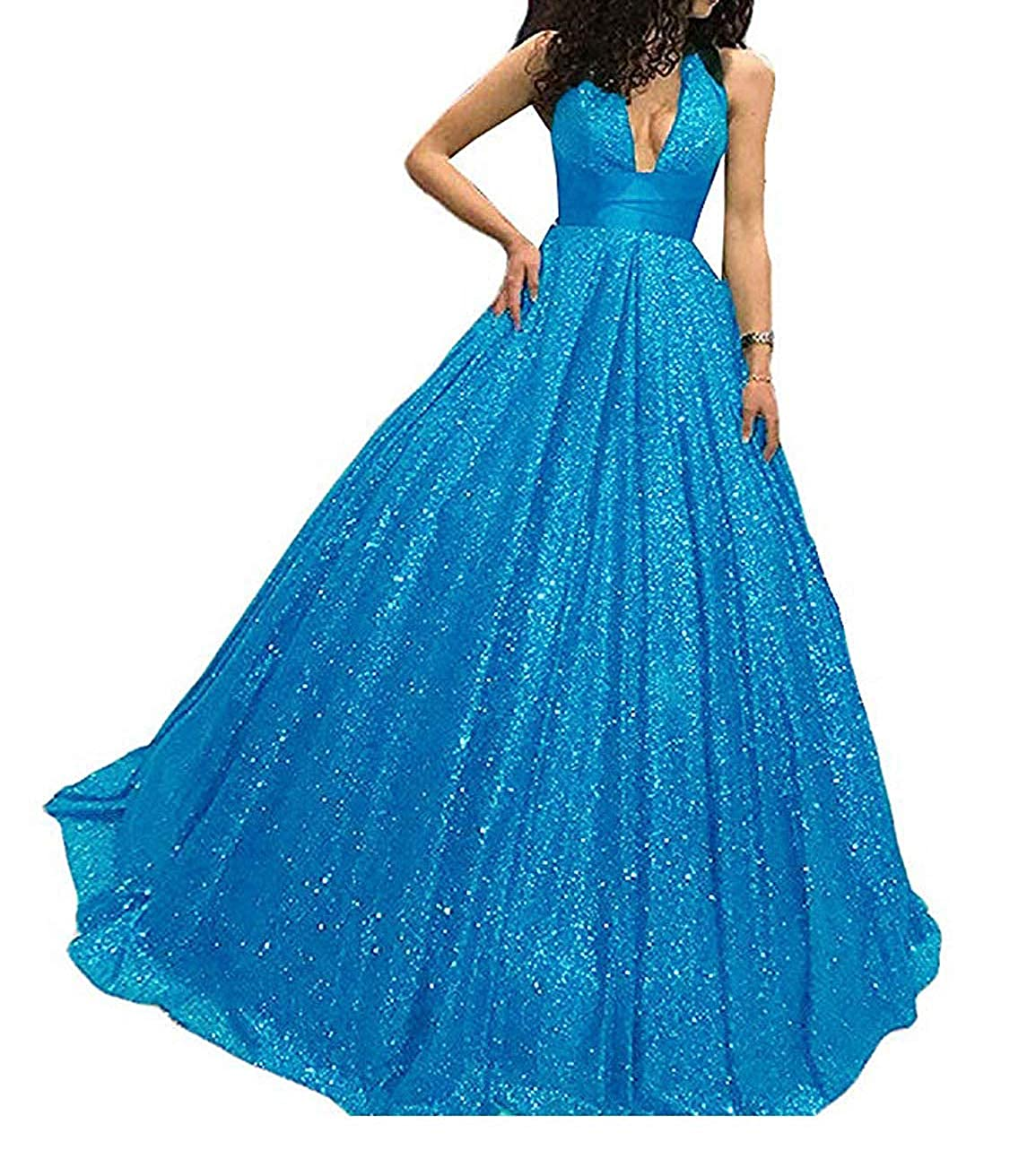 bluee P.L.X Women Sequin Long Stunning Party Ball Gown Prom Evening Dresses