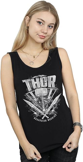 Marvel Mujer Thor Ragnarok Hammer Logo Camiseta Sin Mangas