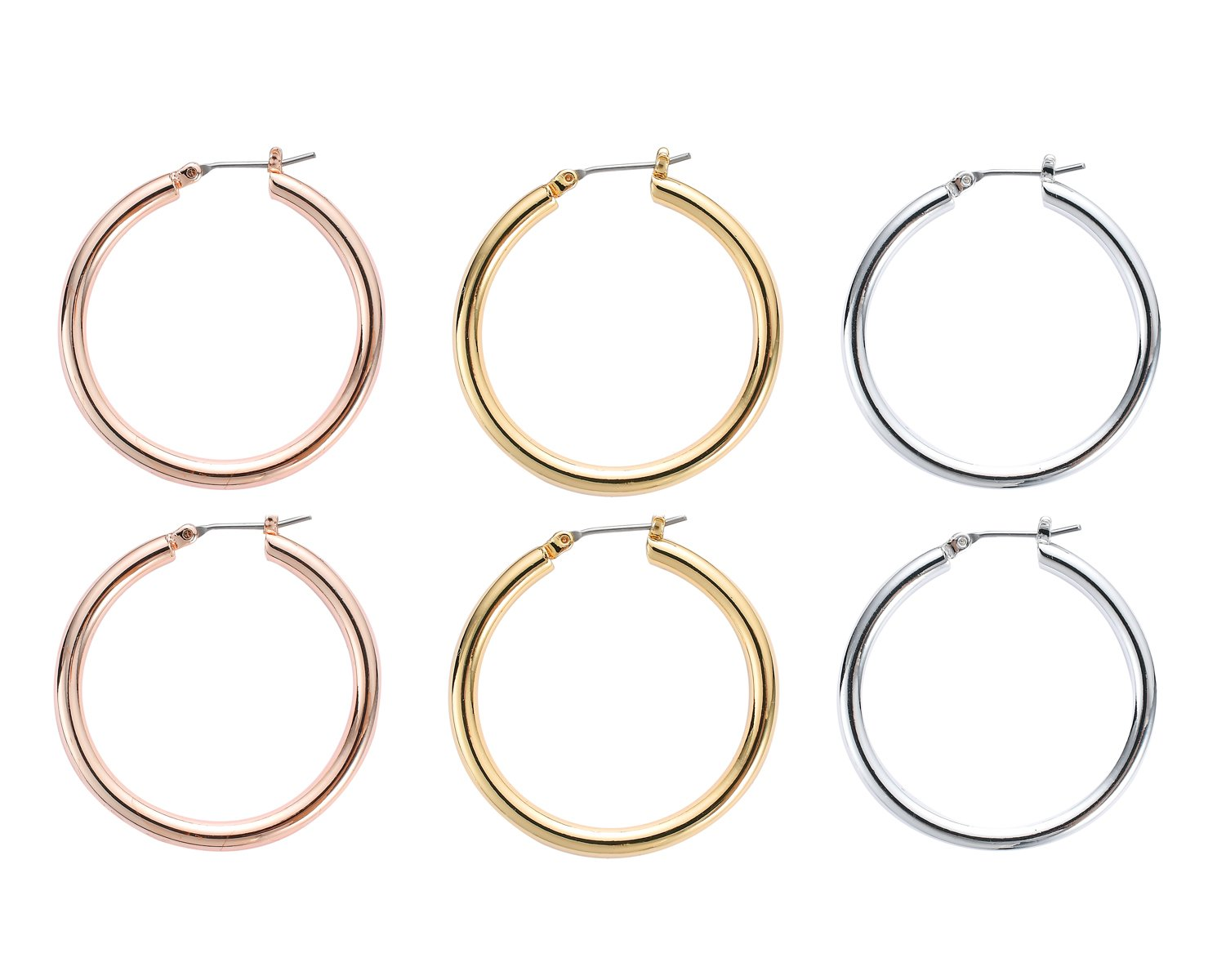 Concise Royal 35mm Large Classical High Polished Round Click-Top Hoop Earring Set of Rose Gold Silver Shinny Gold 3 Pairs